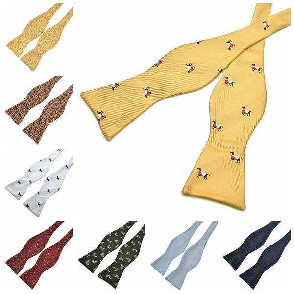 PenSee Mens Gourd Bow Ties Flower Paisley Jacquard Woven Self Neckties