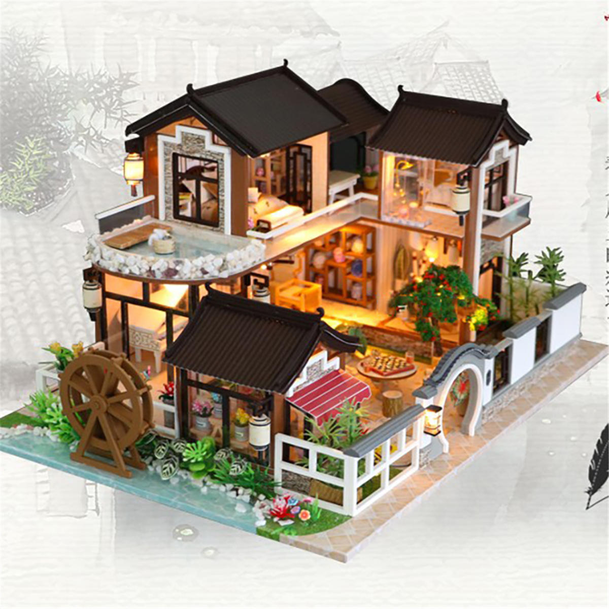 Robotime Miniature Green Garden With Furniture Children Adult Model Building Kits Doll House - 2