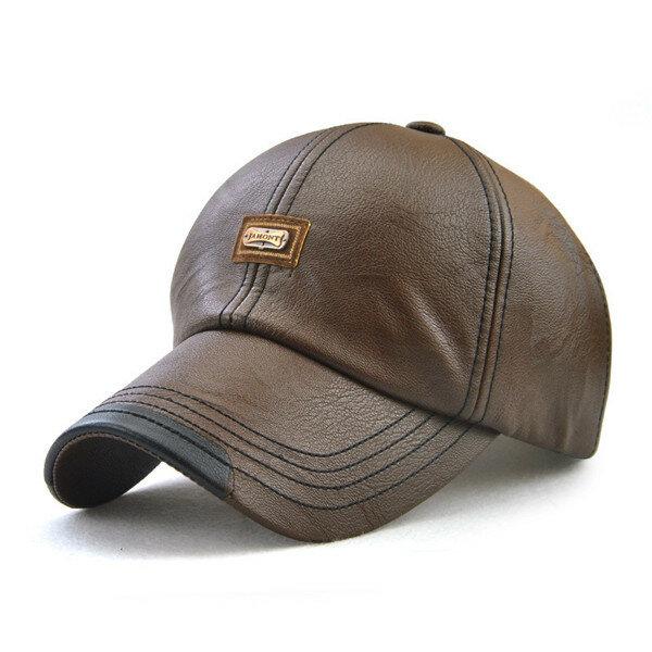 0d978114f0e men vintage man-made leather baseball cap outdoor windproof warm ...