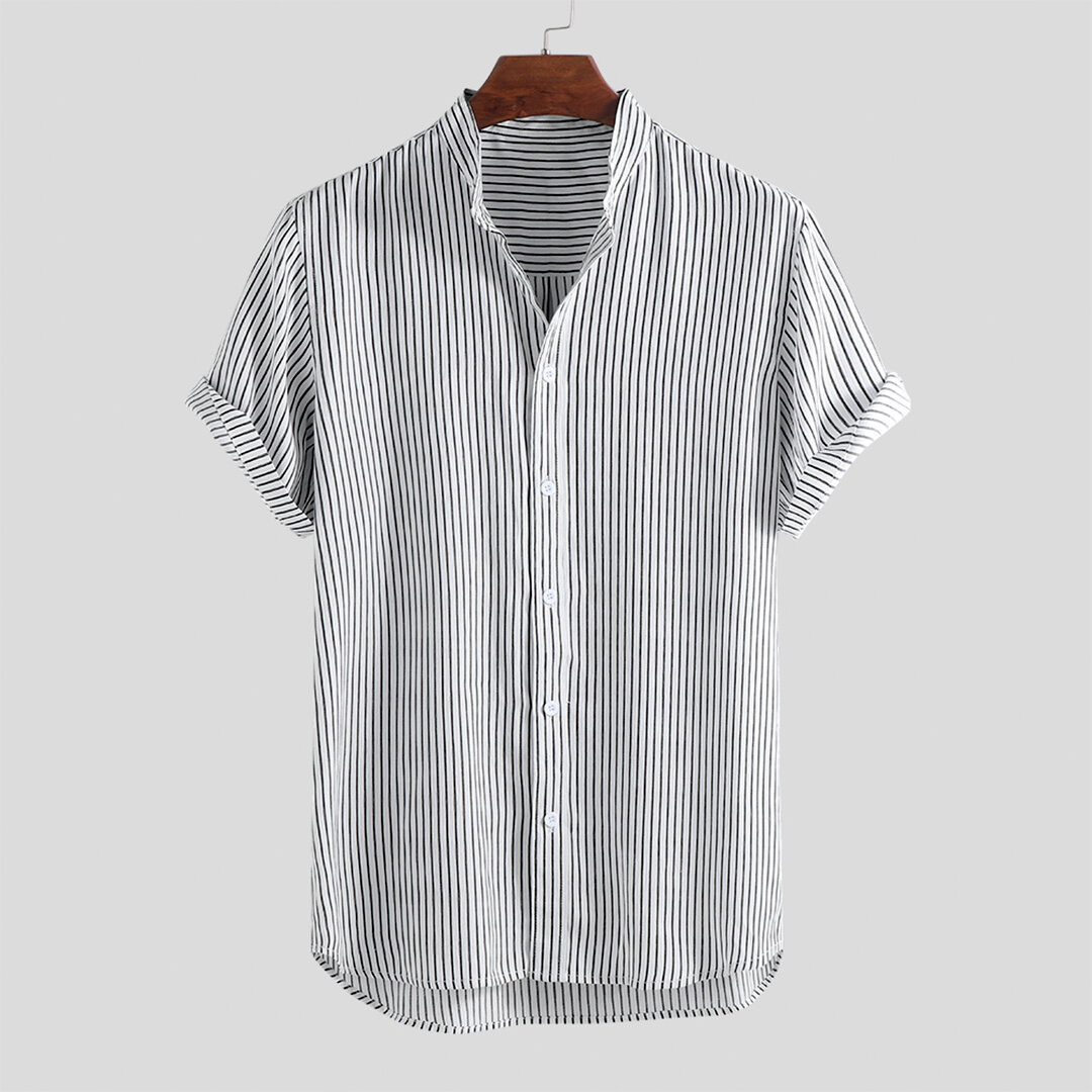 Men Stripe Cotton Short Sleeve Round Hem Casual Shirts