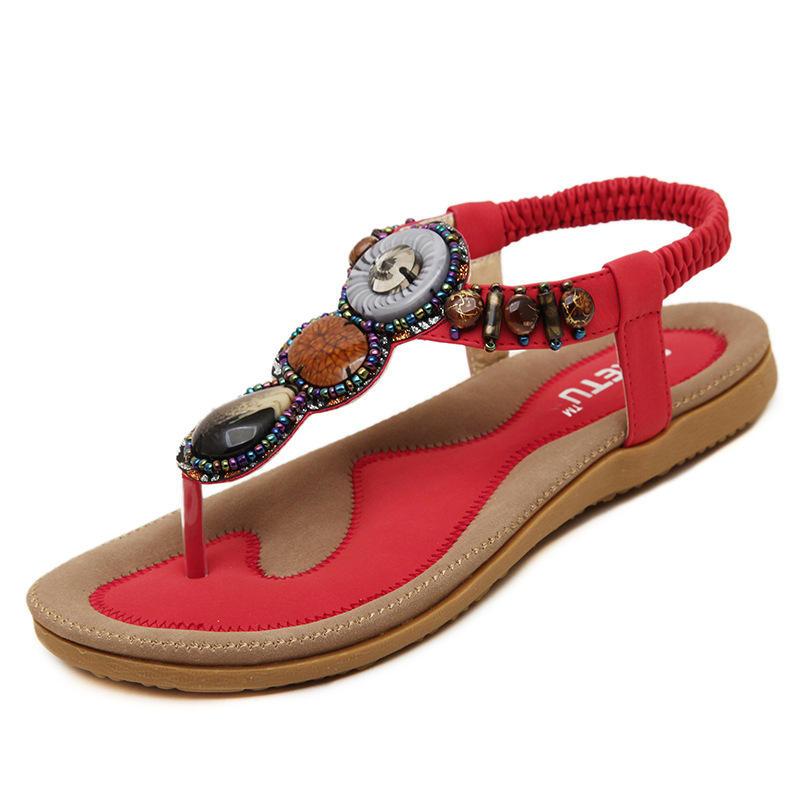 Bohemia estilo de Roma con cuentas de joyería de señora Sandalias Soft zapatos de suela