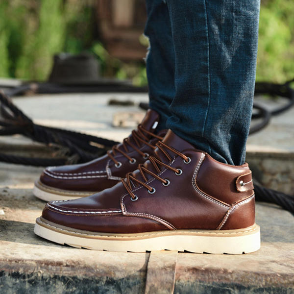 Men Hand Stitching Leather Non-slip Anti-Collision Toe Cap Casual Ankle Boots - 7
