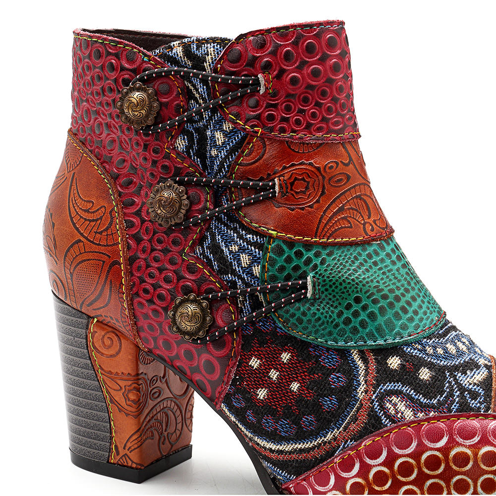 Round Toe Thick High Heel Lace-up Side Zipper Women Boots - 5