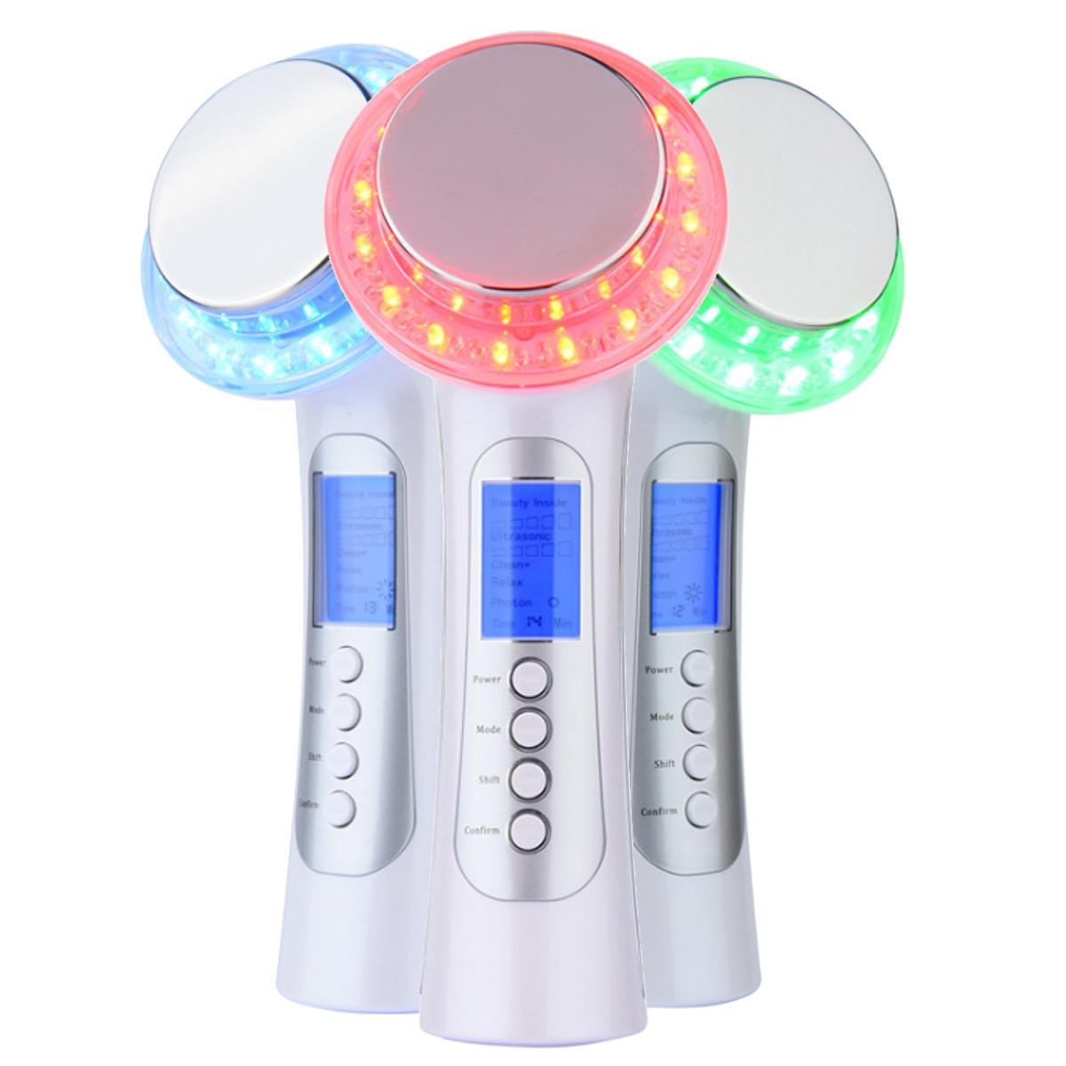 Galvanic IONS Siêu âm Photon Liệu pháp ánh sáng LED Thiết bị nâng cơ mặt Máy làm đẹp mát xa