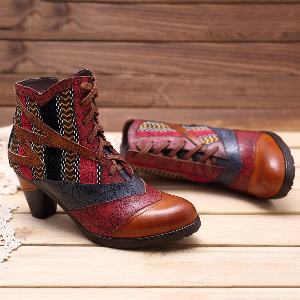 Women Genuine Leather Cuffed Thick Heel Lace-up Ankle Boots - 11