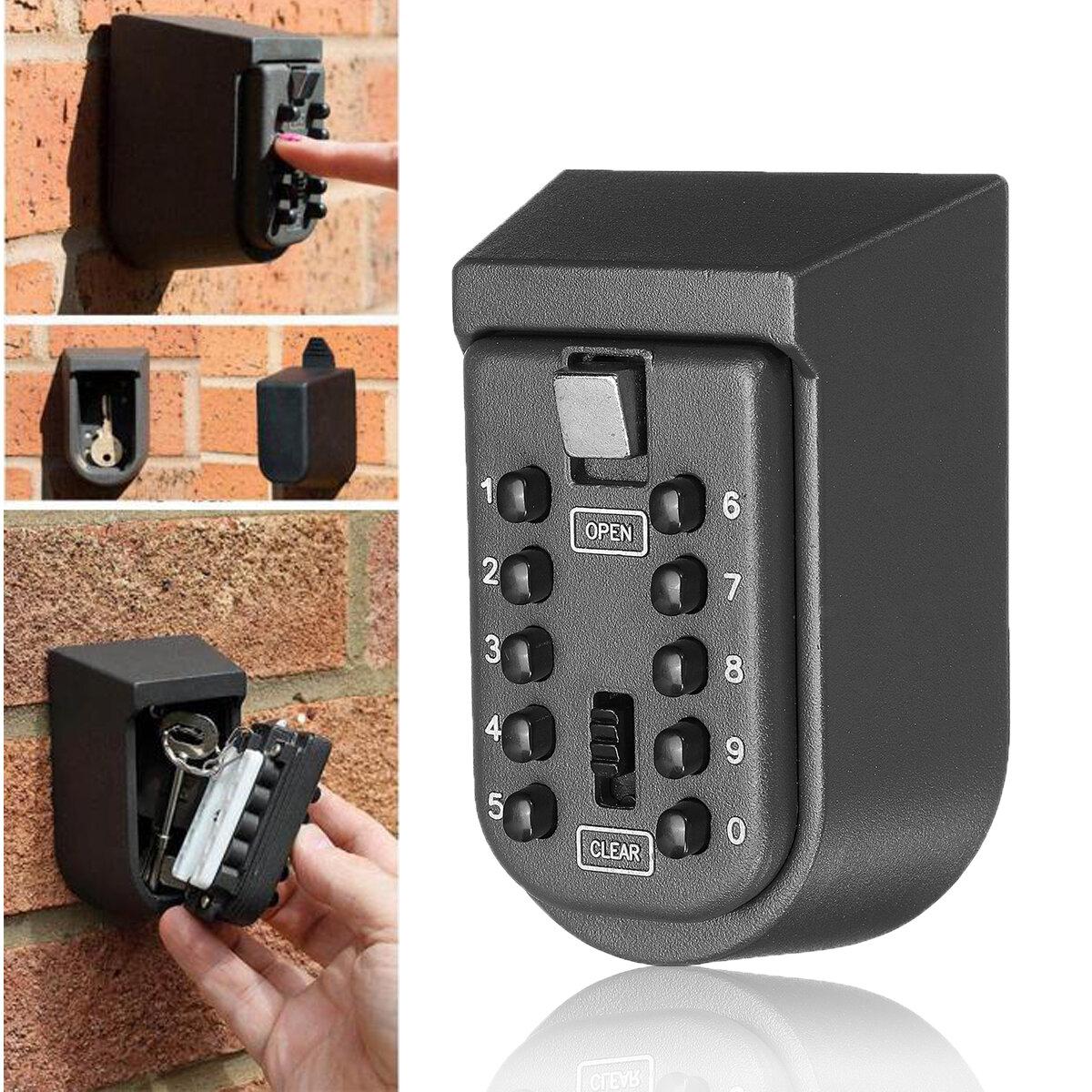 Outdoor Wall Mount Key Safe Combination Lock Storage Box 10-Digital Password