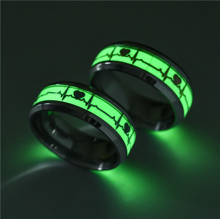 Luminous Heartbeat Stainless Steel Finger Ring Fluorescent Glowing Rings for Men Women