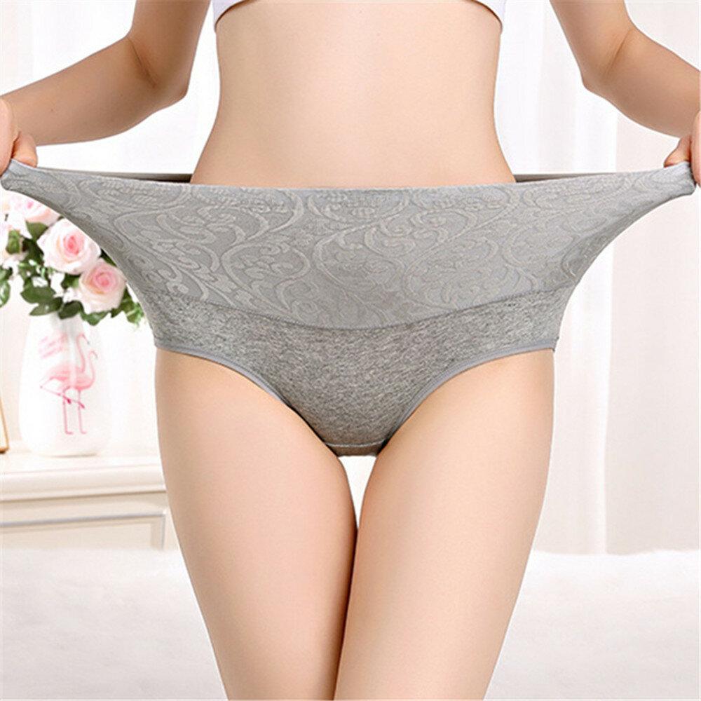 Plus Size Hip Up Waist Slim High Waist Jacquard Soft Cotton Briefs