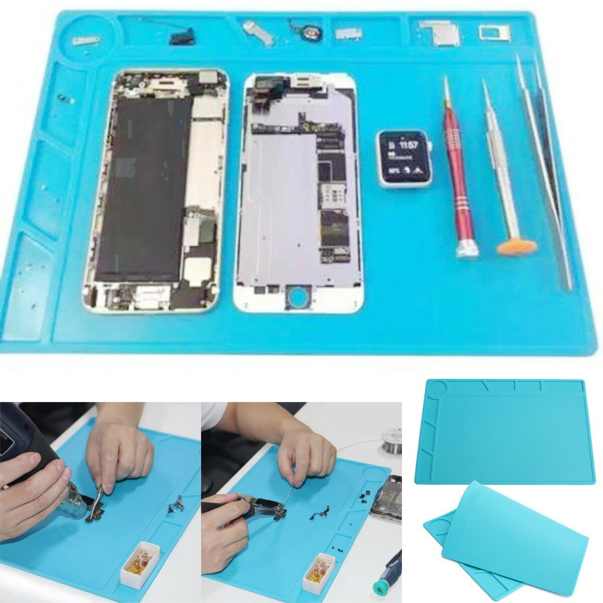 35x25cm Magnetic Heat Resistant Silicone Pad Desk Mat Maintenance Platform Heat Insulation BGA Soldering Repair Station - 4