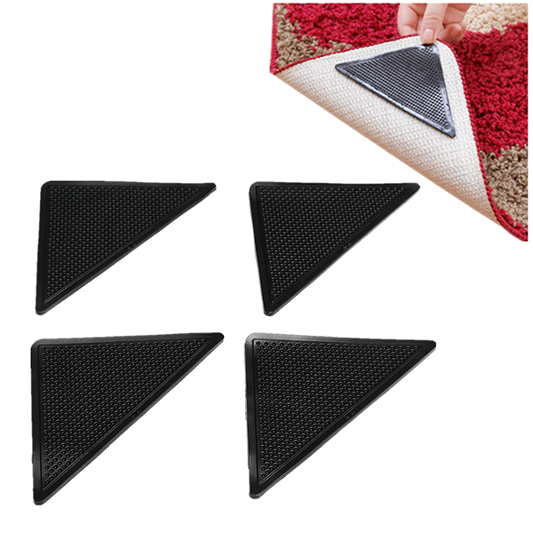4pcs Anti Slip Coner Rubber Mat Trangle Non Slip Carpet Skid Grippers Rug - 2