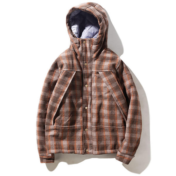 Mens Plaid Checkered Thick Warm Hooded Winter Fashion Jackets