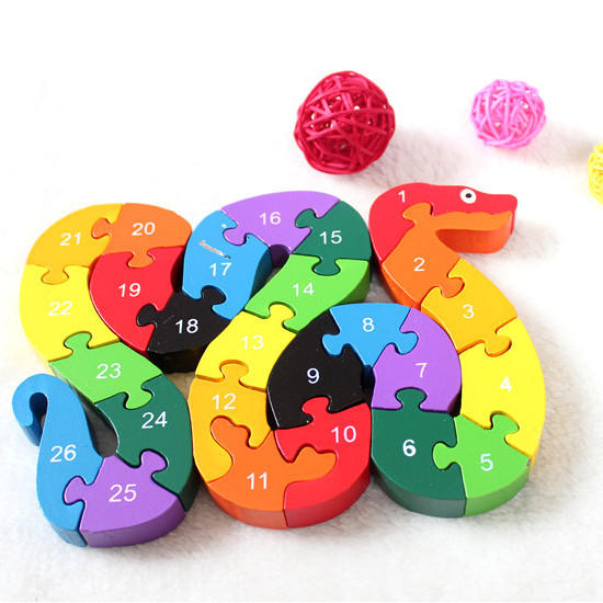 Kids Child Wooden Block Toys Alphabet Number Building Jigsaw Puzzle Snake Shape - 1