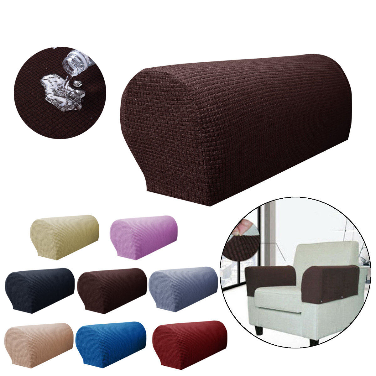 Removable Arm Stretch Sofa Couch Chair Protector Armchair Cover Slipcovers Armrest