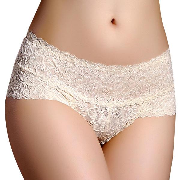 Women Sexy Lace Mid Waist Open Sex Appeal Underwear Soft Cotton Panties - 1