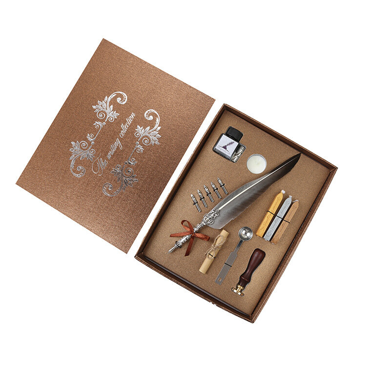Dip Feather Pen,European Retro Feather Quill Alloy Pen Dip Nib Calligraphy Writing Pen Gift Set with Ink Bottle