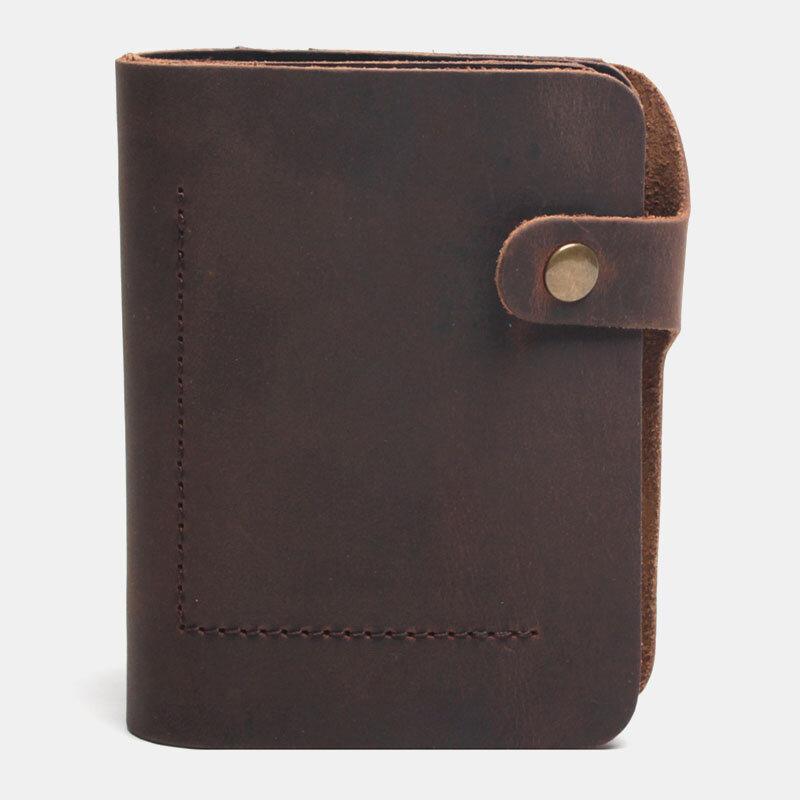 Men Genuine Leather Made-old Retro Business Brief Leather Card Holder Wallet