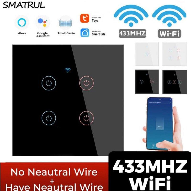 SMATRUL Tuya 433mhz Smart Wifi Touch Switch Light EU Não Neutro Fio Obrigatório remoto Controle de tempo ativado para Al