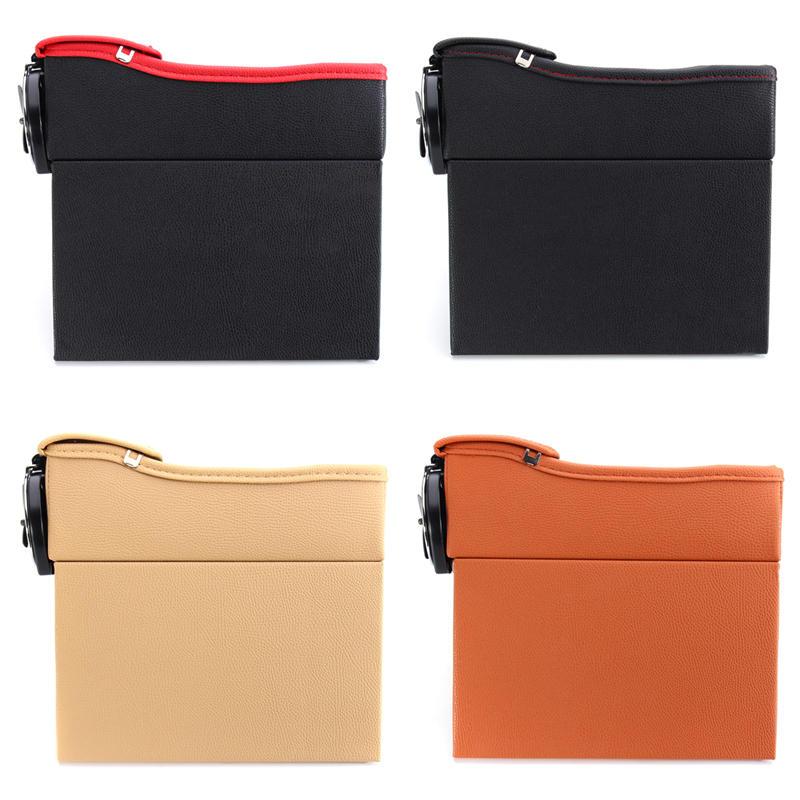 PU Leather Left Side Car Seat Crevice Gap Storage Box Pocket Organizer Phone Holder - 2