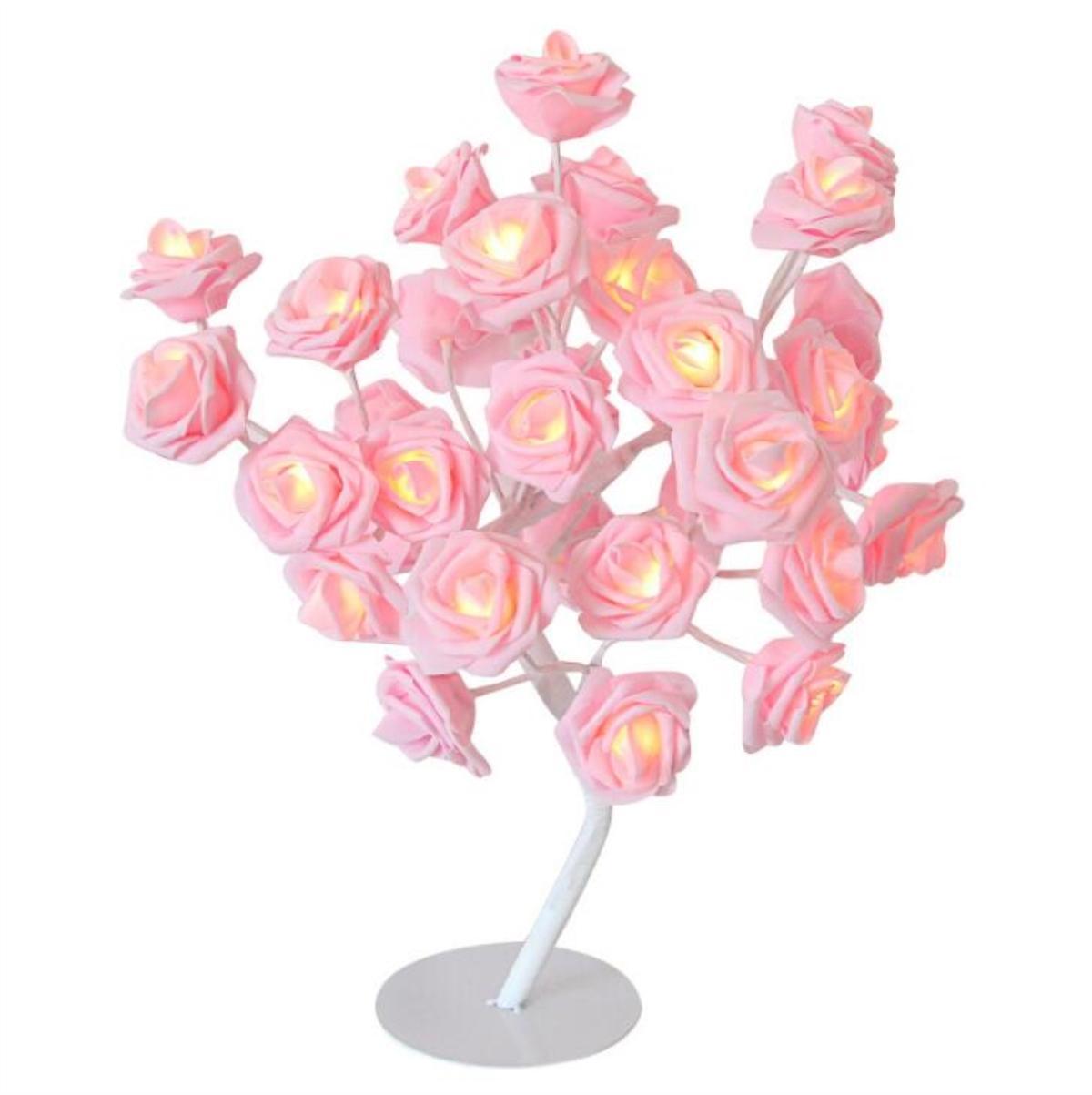 24 LED Rose Blumen Tischlampen Schreibtisch Nachtlicht Dekorative Indoor Schlafzimmer - 2
