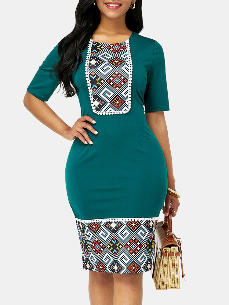 Vintage Ethnic Style Patchwork Slim Bodycon Dress