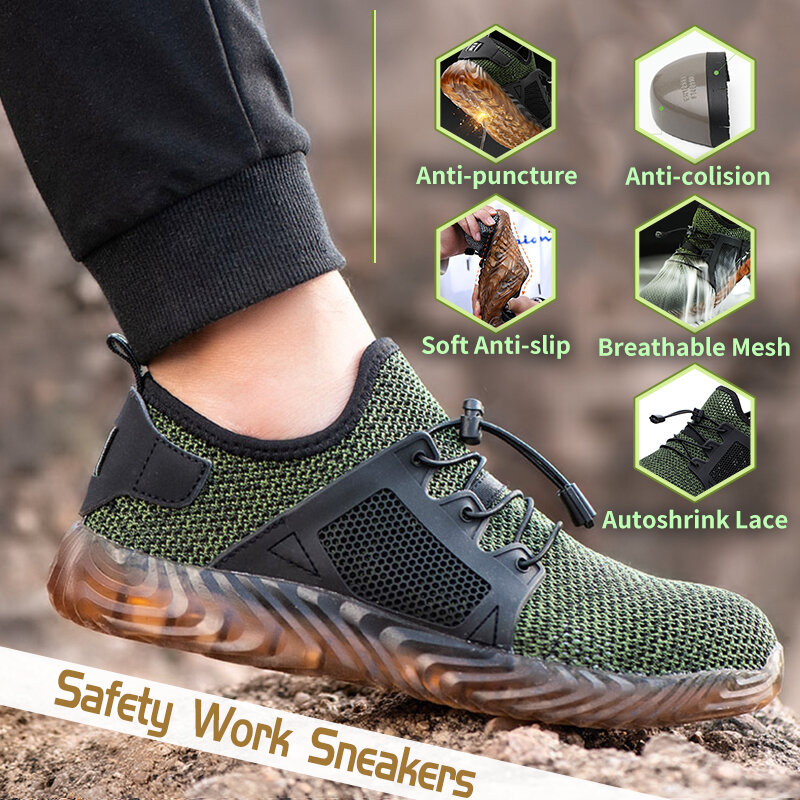 Automatic Shrink Shoelace Hiking Steel Toe Work Safety Mesh Anti slip Anti Collision Climbing Shoes - 7