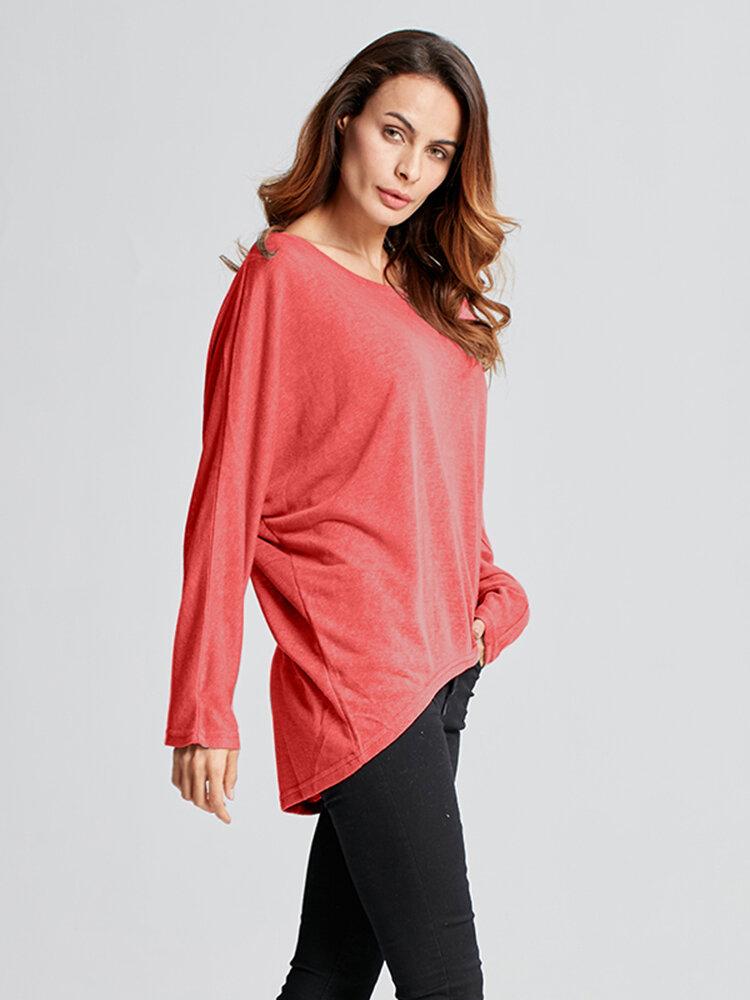 महिला प्लस आकार शरद ऋतु लूज Batwing लंबी आस्तीन शीर्ष टी शर्ट