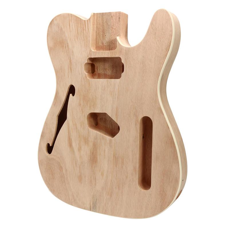 DIY Electric Guitar Mahogany Wood Body Telecaster Thinline Style Body Part Single F Hole - 1