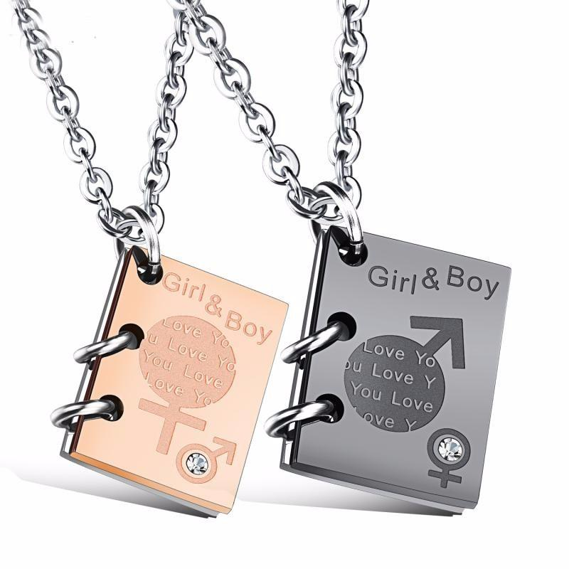 Vintage Girl Boy Couple Book Love Word Necklace Birthday Dating Jewelry Gift