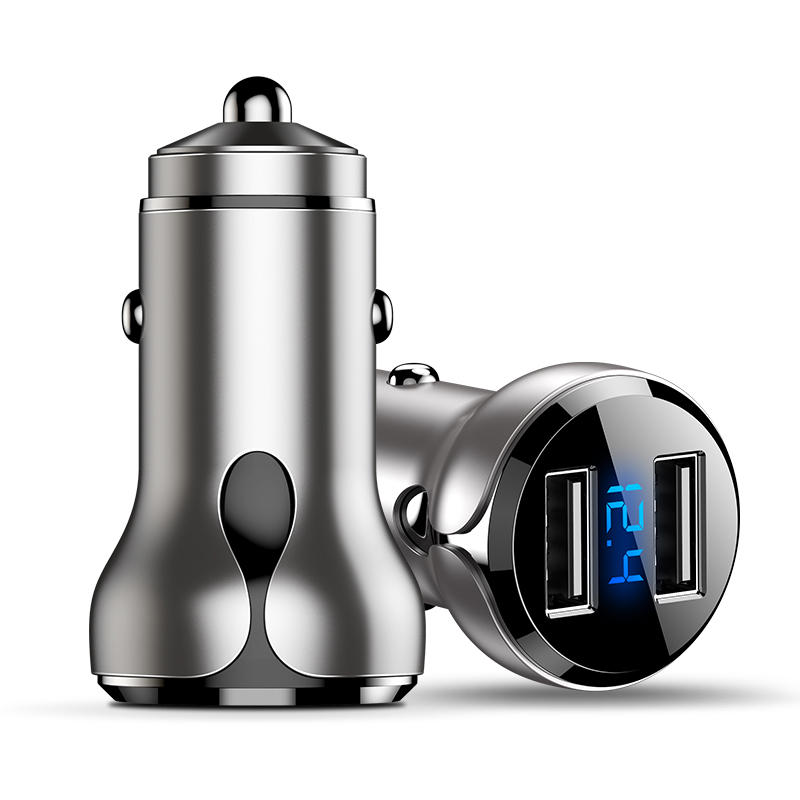 Nickel Color CAFELE DC 12-24V 4.8A Universal Car Charger Dual USB Fast Charging Zinc Alloy Smart LED Display