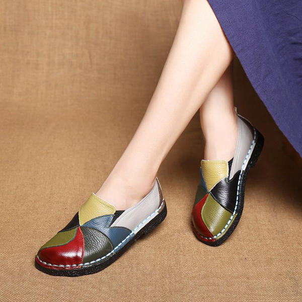 Women Casual Solid Color Round Toe Lace Up Loafers - 11