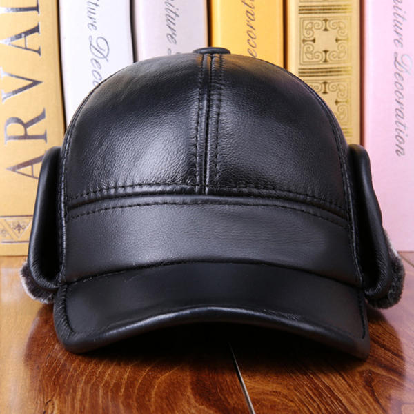 Mens Leather Hat Cowhide Hat Outdoor Leather Hat - 5