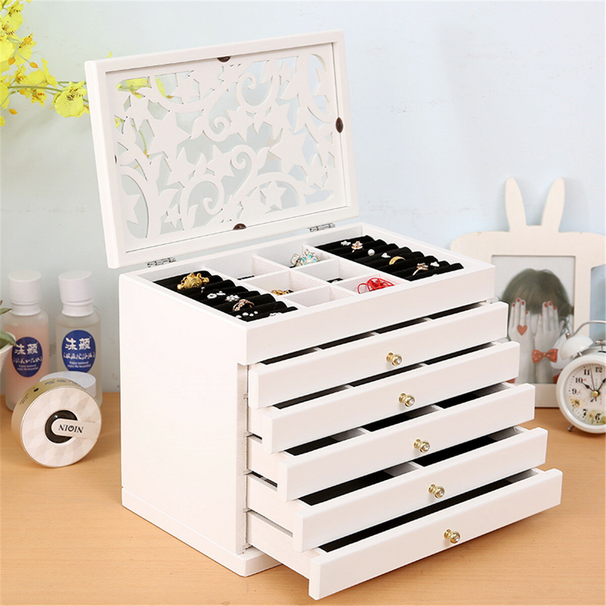 Fashion Jewelry Storage Box Leather Earrings Necklace Rings - 7