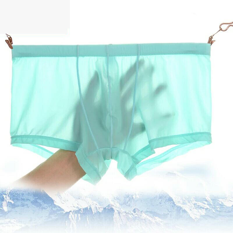 Sexy Thin Translucent Breathable Ice Silk Low Waist U Convex Boxers Briefs for Men