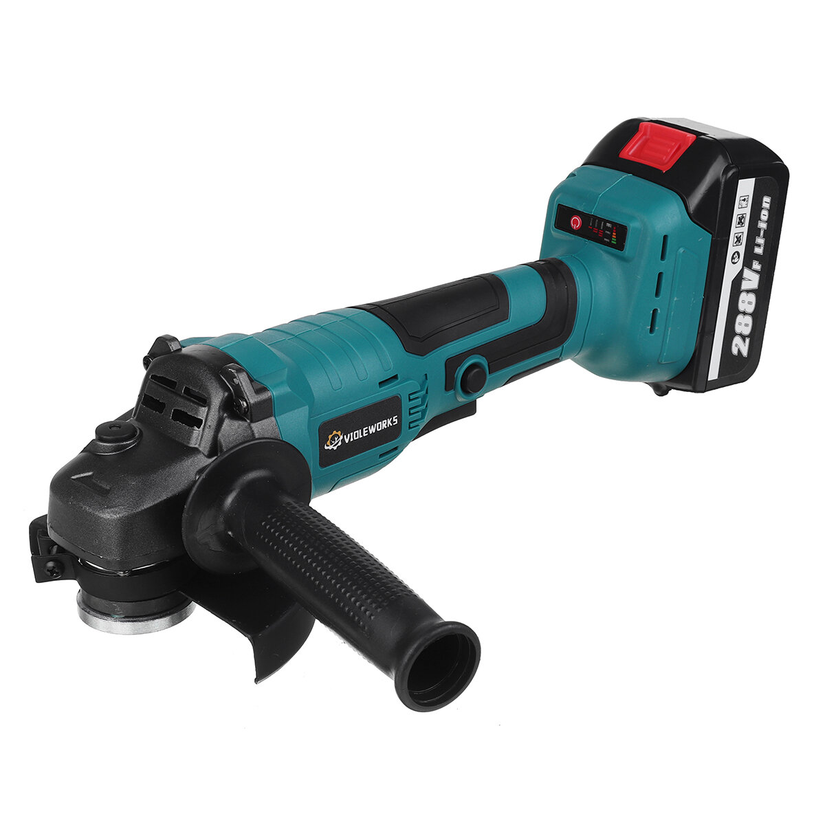 VIOLEWORKS 288VF Cordless Angle Grinder 3 Gears Brushless Electric 100mm/125mm Polishing Machine W/ 1pc or 2pcs Battery For Makita