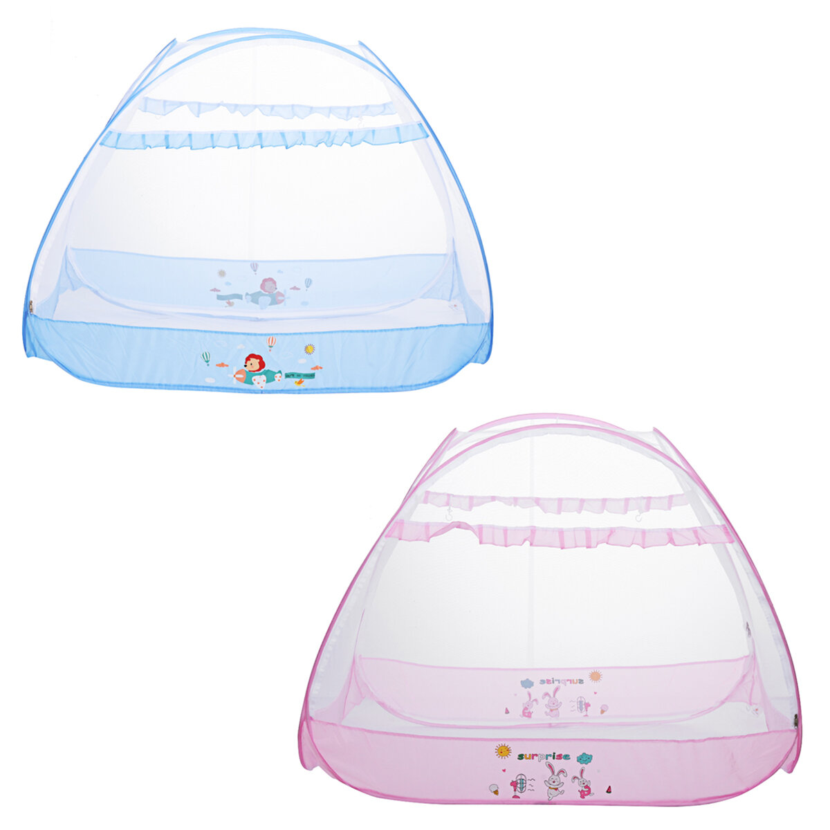 Foldable Baby Crib Canopy Safety Tent Mesh Crib Cover Cute Animal Printed Baby Bed Tent Mosquito Net For Kids Bedroom