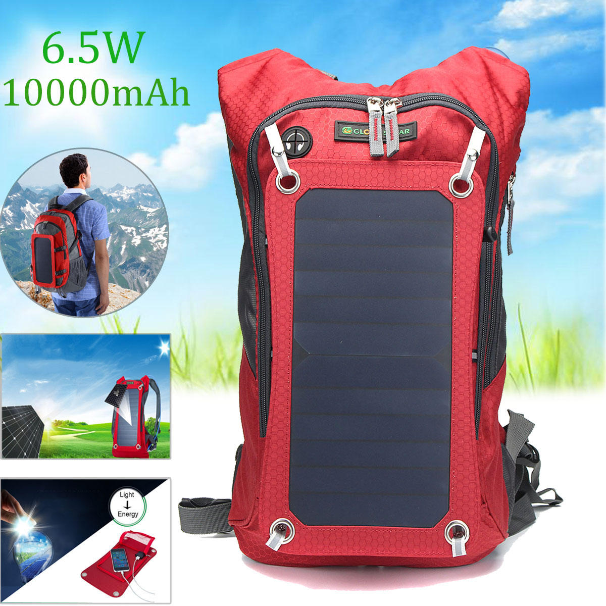 3c29bf3a5da1 Outdoor Travel Bag 6.5W Solar Panel USB Powered Detachable Backpack Charger