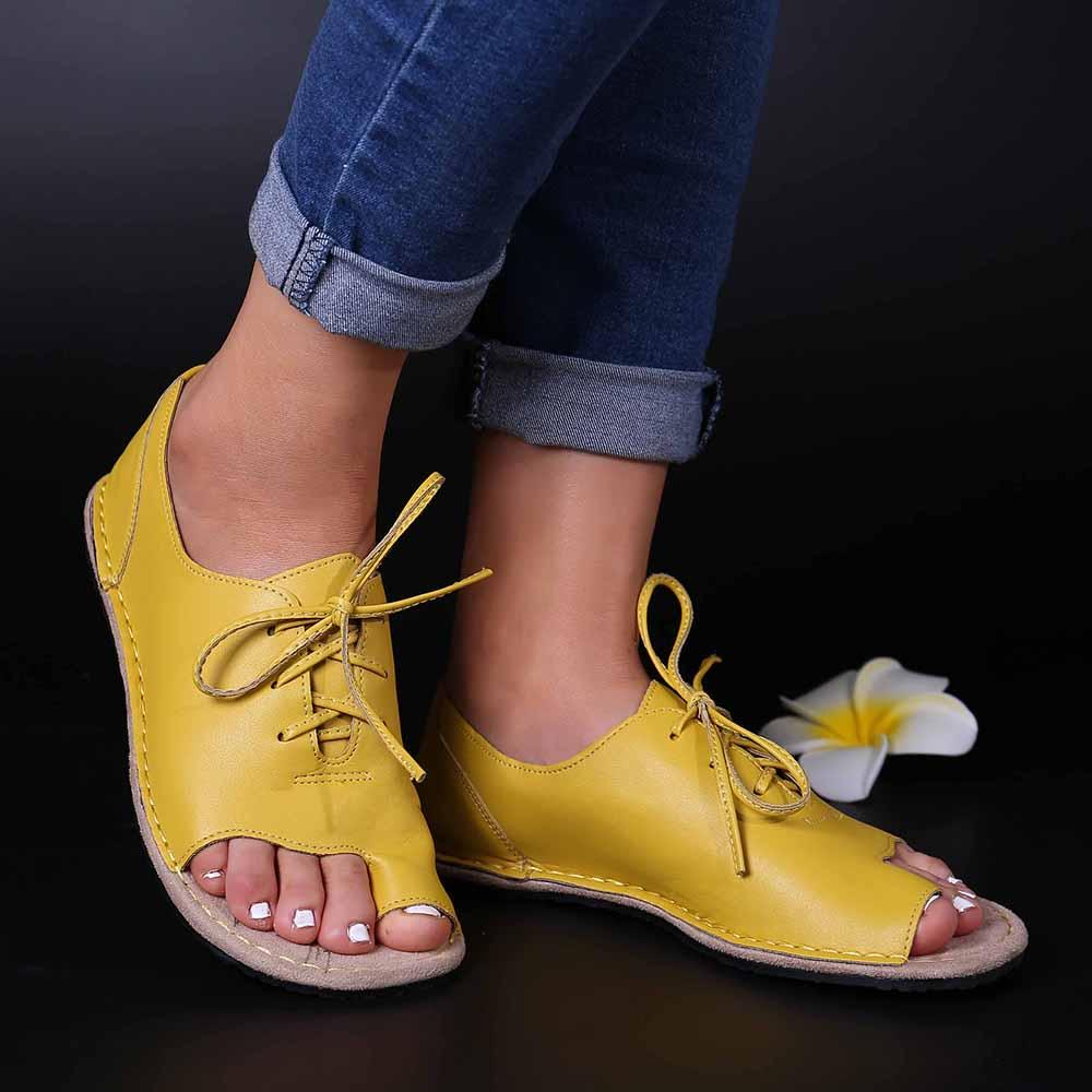 Large Size Women Casual Comfy Clip Toe Lace Up Sandals