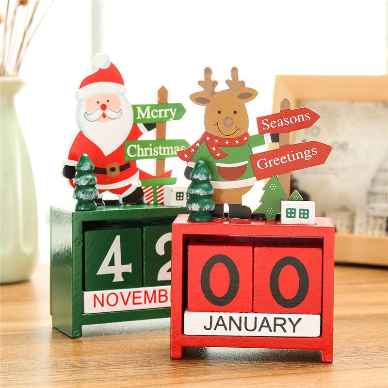 РождественскийтворческийподарокМиниДеревянныйкалендарь Главная Орнамент Стол Декор Элк Санта Клаус - 3