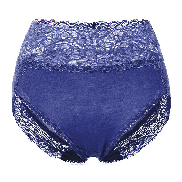 Women Sexy Hips Up High Waist Lace Panties Modal Embroidery Underwear - 10