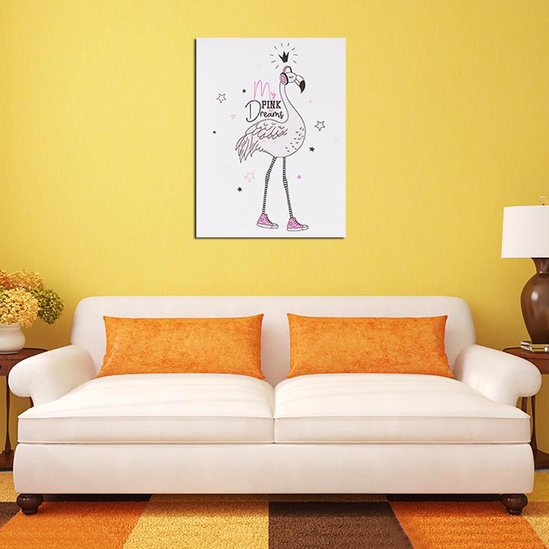 СпальнясприкроватнымитумбамиВисячиекартины Печать Детская комната Безрамное изображение на стенах - 3