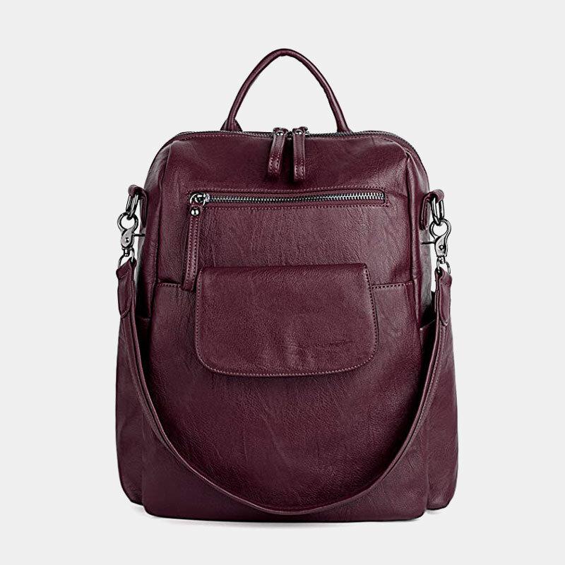 Women Solid Color Waterproof Multi-Carry Backpack Large Capacity Back Anti-theft Pocket Shoulder Bag Crossbody Bag