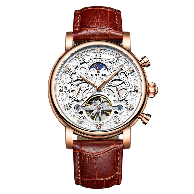 WINNER Fashion Shining Roman Numerals Mechanical Watch Luxury Golden Men Automatic Watch - 8