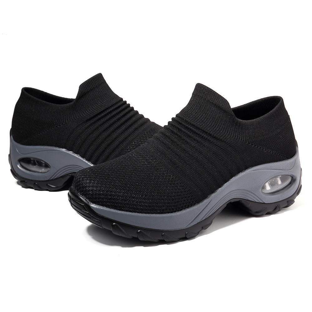 Women Lightweight Comfy Breathable Mesh Slip On Flat Sneakers - 7