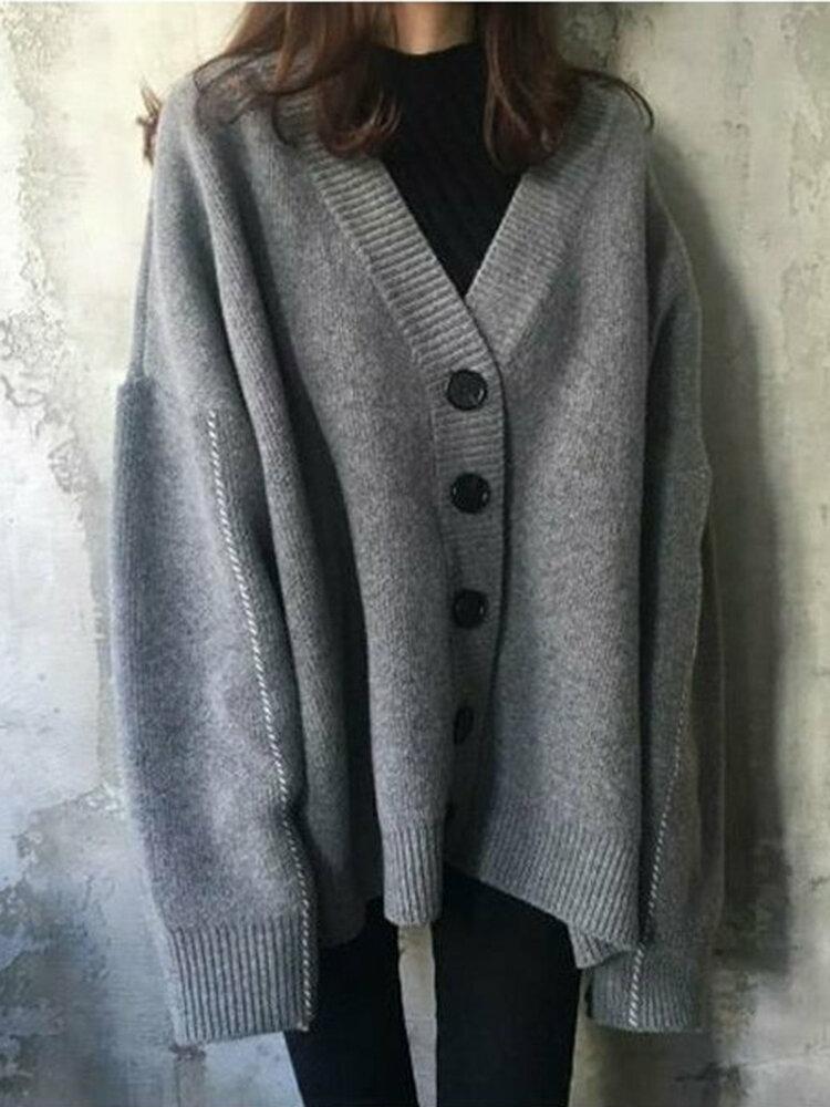 Oversized Fur Collar Batwing Sleeve Knit Cardigans Sweater - 2