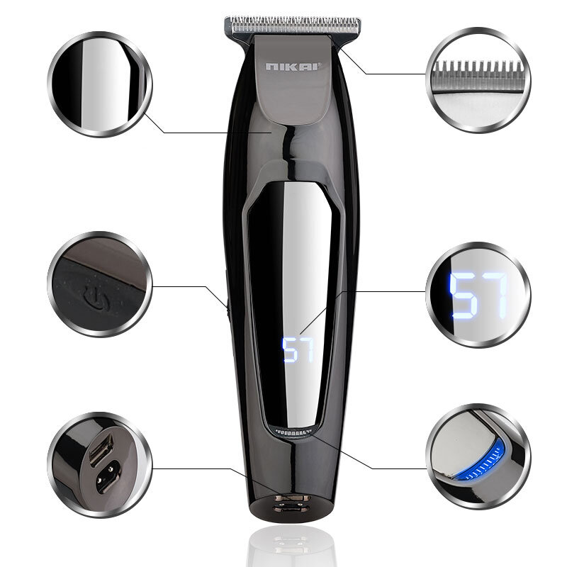 RESUXI NK-1879 Electric USB Charging Hair Clipper LCD Diaplay Sharp Fast Hair Clipper With 5 Limit Combs  Hair Trimmer