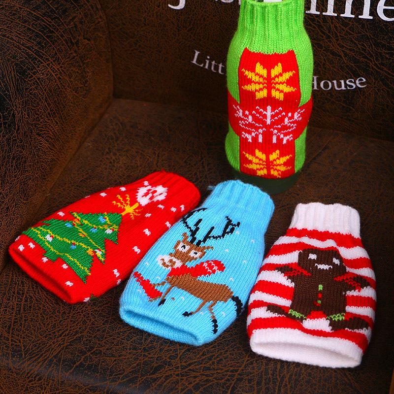 Christmas Snowman Deer Knitting Stockings Candy Gift Bags Beer Wine Bottle Cover Set Christmas Decor - 3