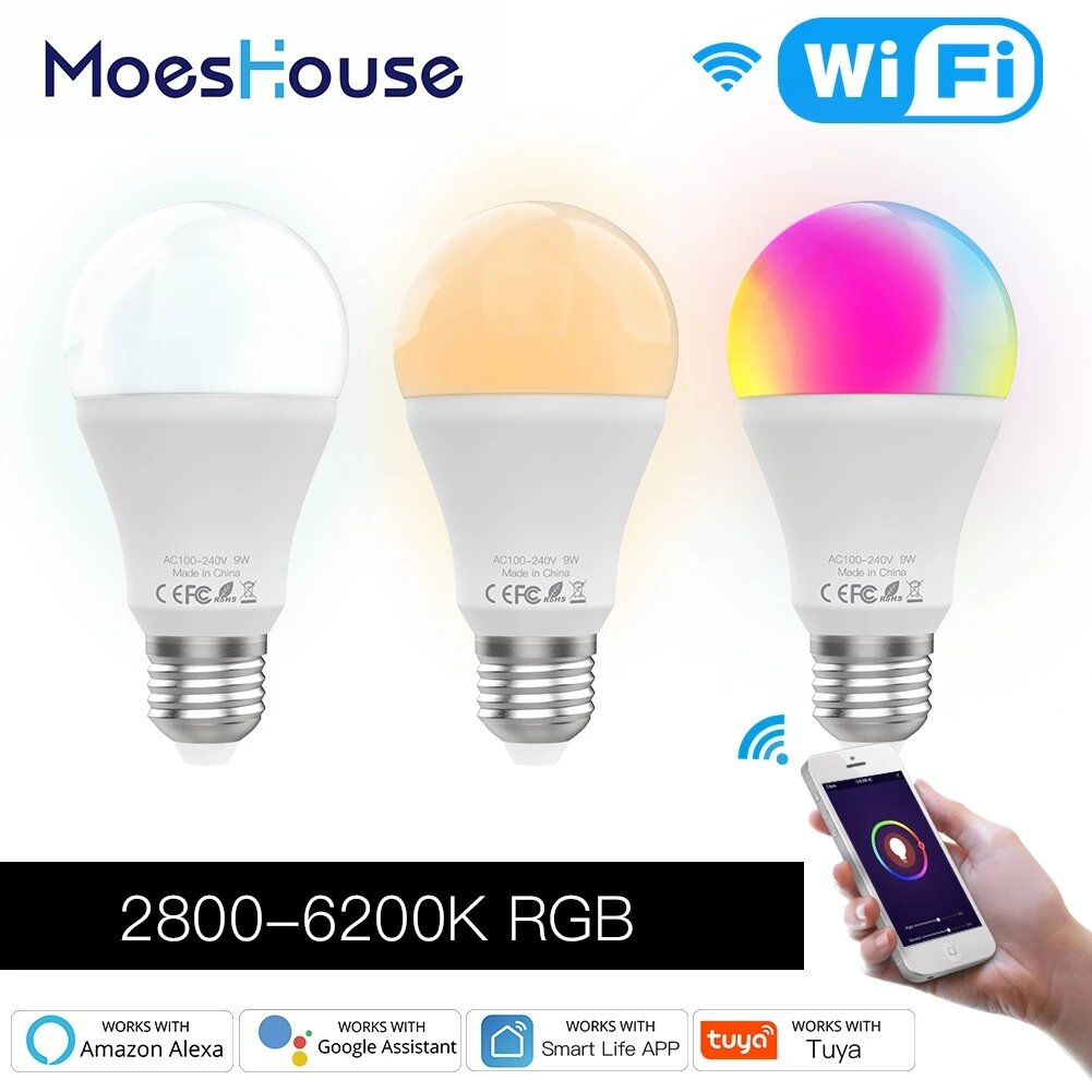 MoesHouse 9W E27 WiFi Smart LED Лампа RGB C + W с регулируемой яркостью Smart Life Tuya APP Лампа Работа с Alexa Google
