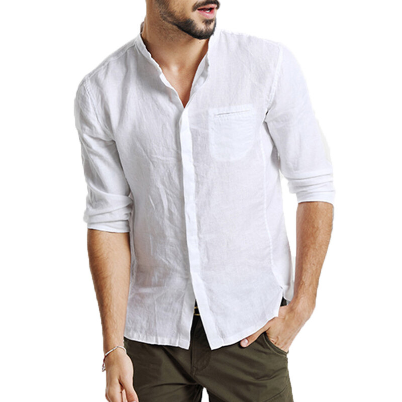 Mens Cotton 3/4 Sleeve Missing Buttons Band Collar Shirts - 2