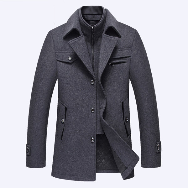 Casual Business Fashion Warm Wool Trench Coat - 4