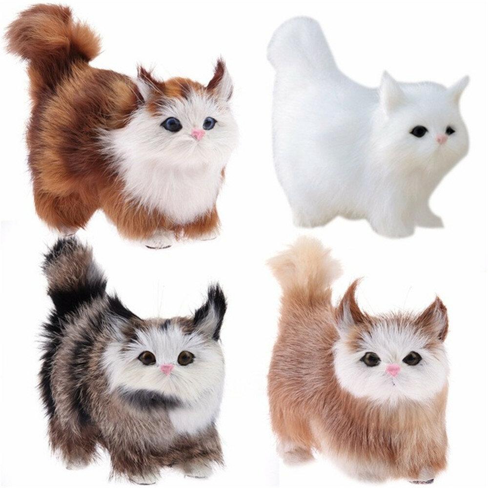 Cute Cat Lifelike Miaow Simulation Kitty Stuffed Plush Toy Realistic Home Desk Decoration